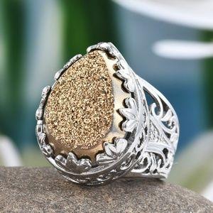 Size 5 HUGE Golden Drusy Quartz Ring